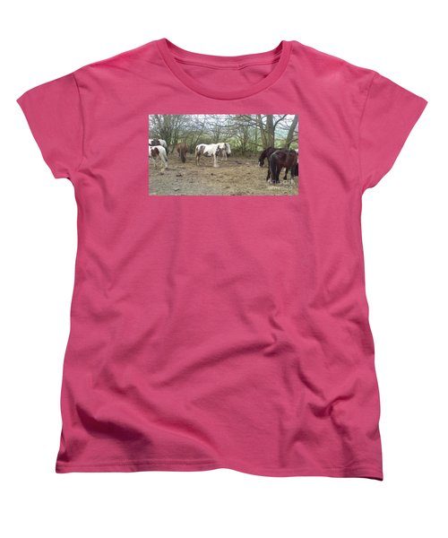 Women's T-Shirt (Standard Cut) featuring the photograph May Hill Ponies 1 by John Williams