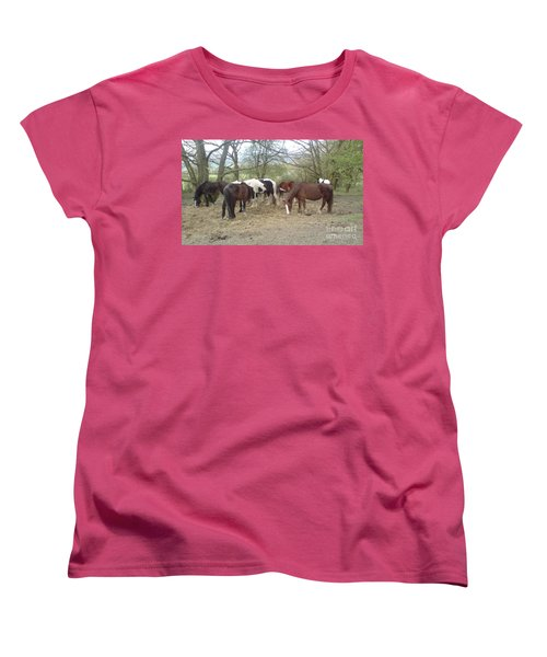 Women's T-Shirt (Standard Cut) featuring the photograph May Hill Ponies 3 by John Williams