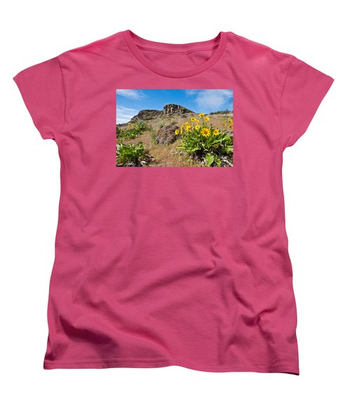 Women's T-Shirt (Standard Cut) featuring the photograph Meadow Of Arrowleaf Balsamroot by Jeff Goulden