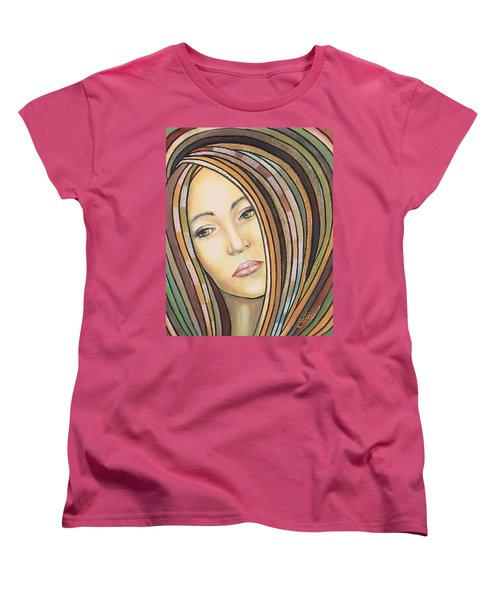 Women's T-Shirt (Standard Cut) featuring the painting Melancholy 300308 by Sylvia Kula
