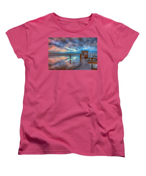 Melvin Village Marina In The Fog Women's T-Shirt (Standard Cut) by Brenda Jacobs