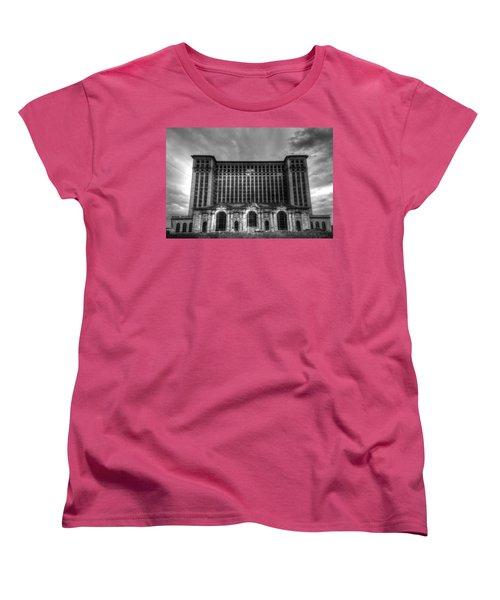 Michigan Central Station Bw Women's T-Shirt (Standard Cut) by Jonathan Davison