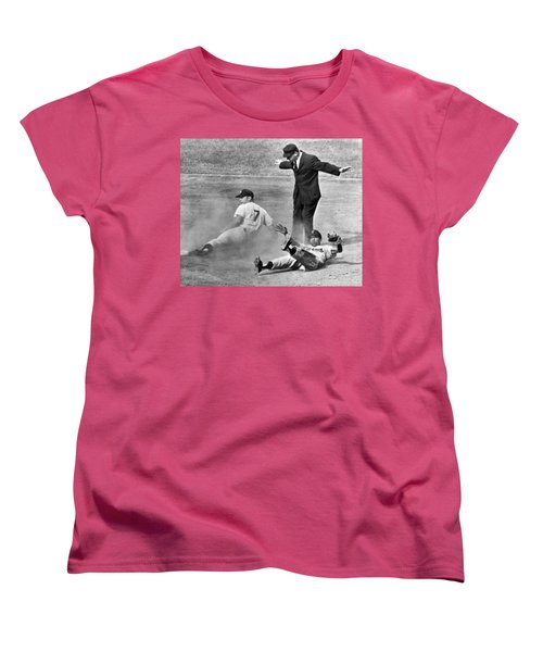Mickey Mantle Steals Second Women's T-Shirt (Standard Cut) by Underwood Archives