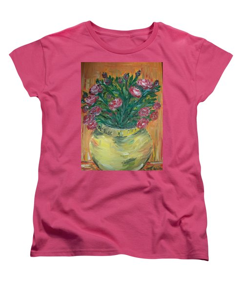 Women's T-Shirt (Standard Cut) featuring the painting Mini Roses by Teresa White