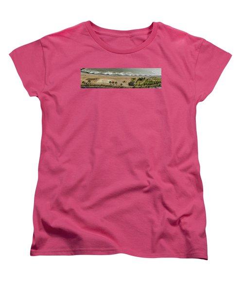 Miraflores Beach Panorama Women's T-Shirt (Standard Cut) by Allen Sheffield