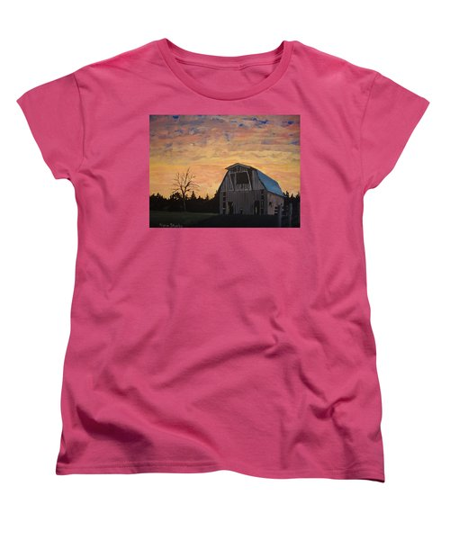 Women's T-Shirt (Standard Cut) featuring the painting Missouri Barn by Norm Starks