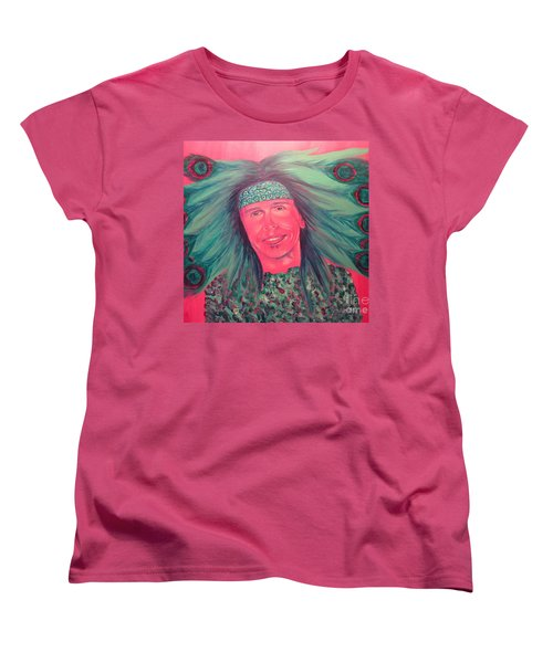 Women's T-Shirt (Standard Cut) featuring the painting Mister Peacock by Jeepee Aero