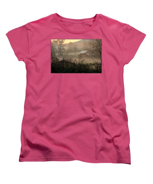 Misty Morn And Horse Women's T-Shirt (Standard Cut) by Kathy Barney