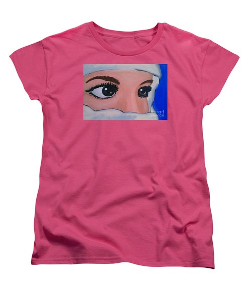 Women's T-Shirt (Standard Cut) featuring the painting Modesty by Marisela Mungia
