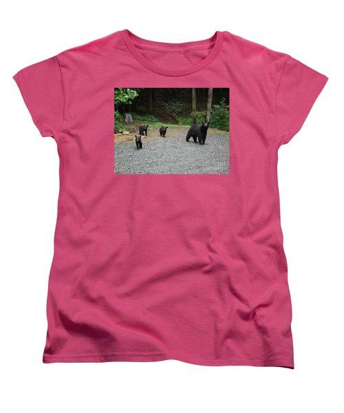 Women's T-Shirt (Standard Cut) featuring the photograph Momma And Three Bears by Jan Dappen