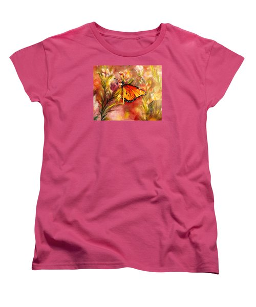 Women's T-Shirt (Standard Cut) featuring the painting Monarch Beauty by Karen Kennedy Chatham
