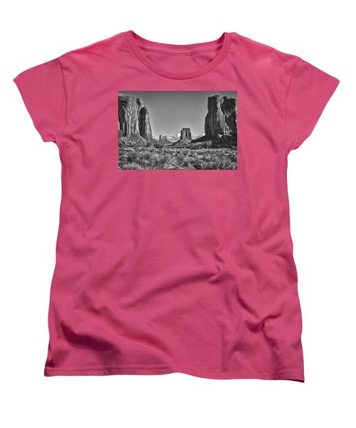 Women's T-Shirt (Standard Cut) featuring the photograph Monument Valley 8 Bw by Ron White