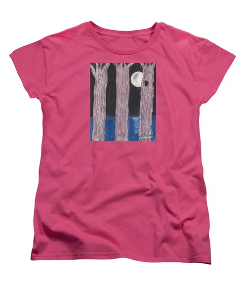 Women's T-Shirt (Standard Cut) featuring the mixed media Moon Light by David Jackson