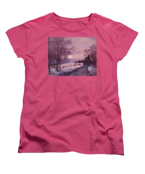 Women's T-Shirt (Standard Cut) featuring the painting Moon Rising by Joy Nichols