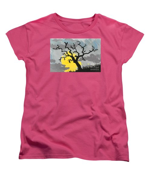 Women's T-Shirt (Standard Cut) featuring the painting Moon Tree by Marisela Mungia