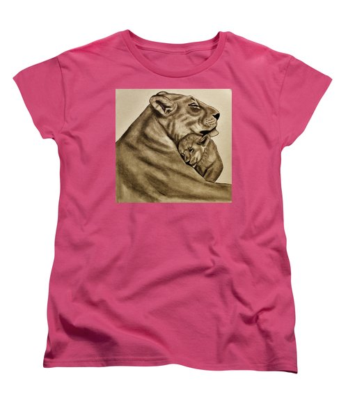 Women's T-Shirt (Standard Cut) featuring the drawing Mother And Son by Michael Cross