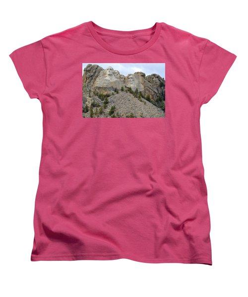 Mount Rushmore In South Dakota Women's T-Shirt (Standard Cut) by Clarice  Lakota