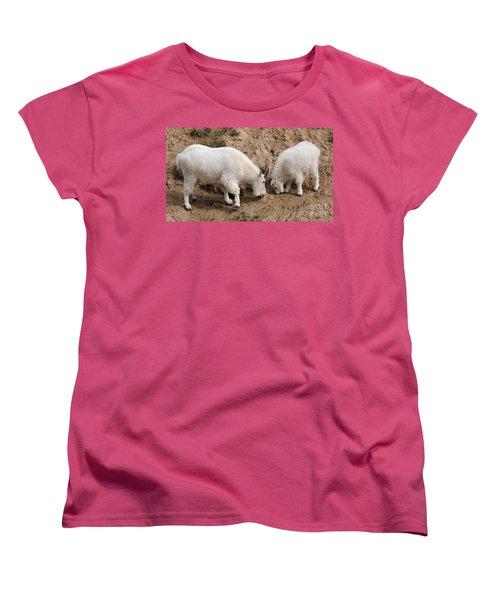 Women's T-Shirt (Standard Cut) featuring the photograph Mountain Goats At The Salt Lick by Vivian Christopher