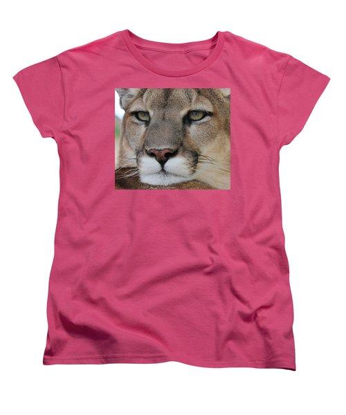 Mountain Lion Portrait 2 Women's T-Shirt (Standard Cut) by Diane Alexander