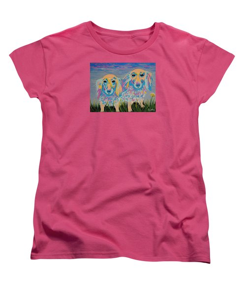 Women's T-Shirt (Standard Cut) featuring the painting Mugi And Tatami by Kathleen Sartoris