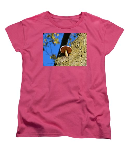 Women's T-Shirt (Standard Cut) featuring the photograph Mushroom In A Tree by Ally  White