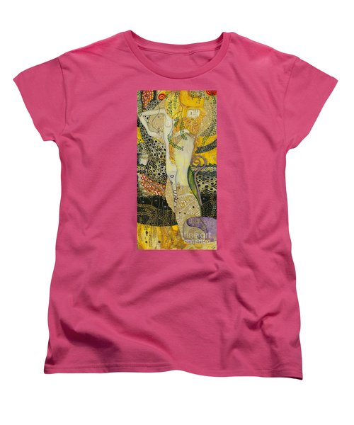 My Acrylic Painting As An Interpretation Of The Famous Artwork Of Gustav Klimt - Water Serpents I Women's T-Shirt (Standard Cut) by Elena Yakubovich