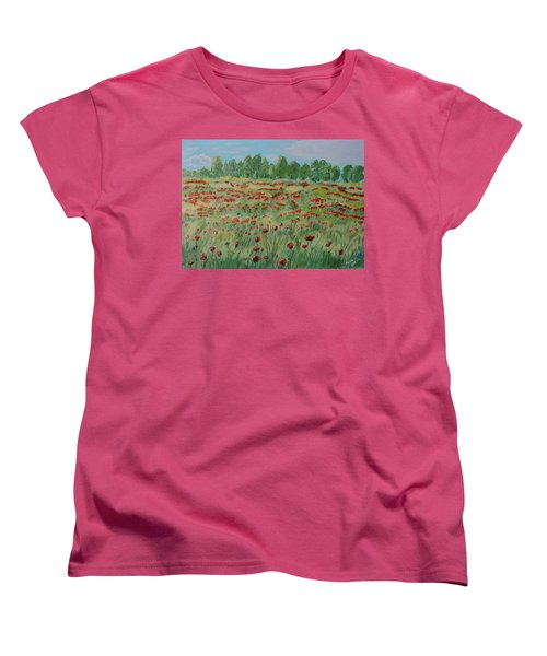 My Poppies Field Women's T-Shirt (Standard Cut) by Felicia Tica