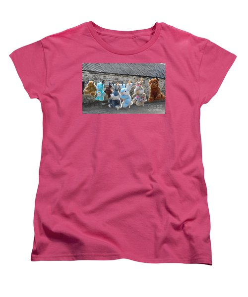 Women's T-Shirt (Standard Cut) featuring the photograph Toys On Washing Line by Nina Ficur Feenan