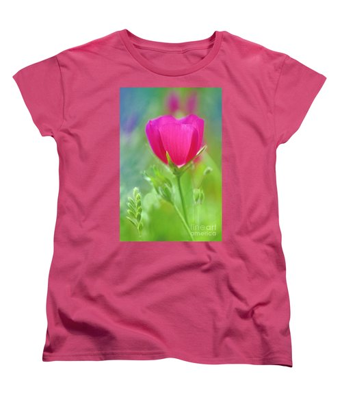 Women's T-Shirt (Standard Cut) featuring the photograph Natures Winecup South Texas by Dave Welling