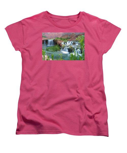 Women's T-Shirt (Standard Cut) featuring the photograph Navajo Falls by Alan Socolik