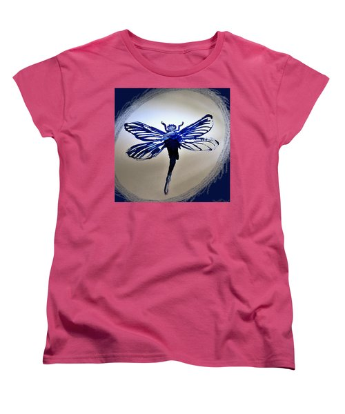 Women's T-Shirt (Standard Cut) featuring the painting Navy Dragonfly Alcohol Inks  by Danielle  Parent