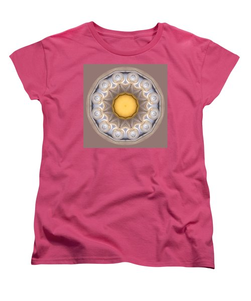 Women's T-Shirt (Standard Cut) featuring the photograph Neutral Kaleidoscope Square by Betty Denise