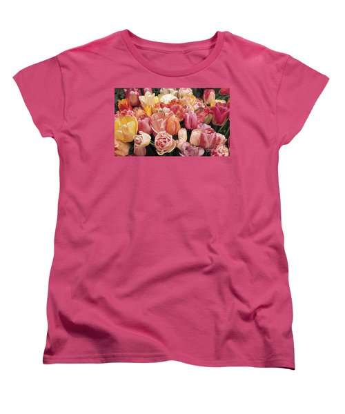 Women's T-Shirt (Standard Cut) featuring the painting Nikki's Tulips by Tim Gilliland