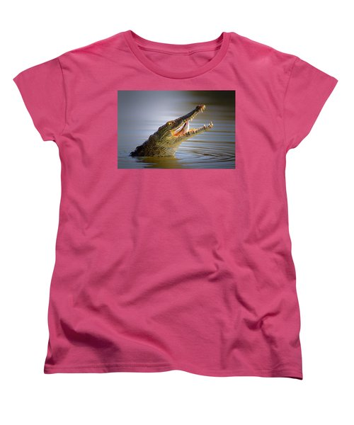 Nile Crocodile Swollowing Fish Women's T-Shirt (Standard Cut) by Johan Swanepoel