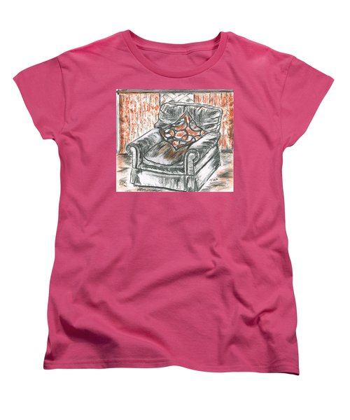 Women's T-Shirt (Standard Cut) featuring the drawing Old Cozy Chair by Teresa White