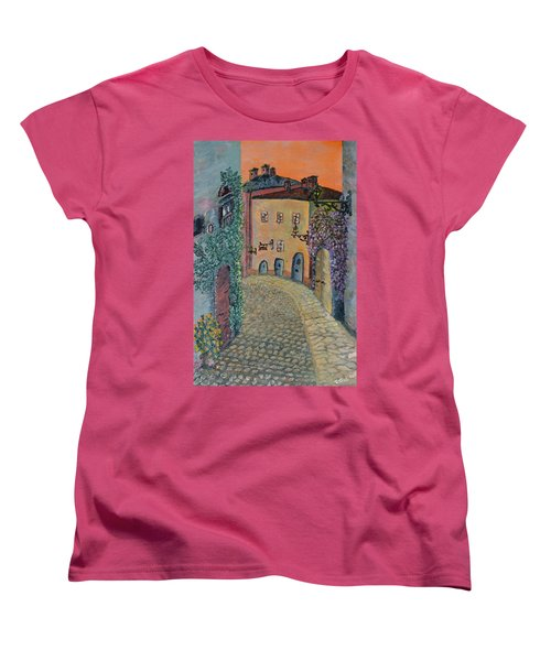 Women's T-Shirt (Standard Cut) featuring the painting Old Town In Piedmont by Felicia Tica