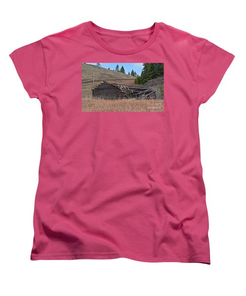 Women's T-Shirt (Standard Cut) featuring the photograph Old Turn Of The Century Log Cabin Homestead Art Prints by Valerie Garner