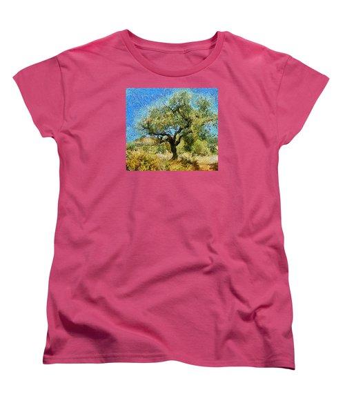 Olive Tree On Van Gogh Manner Women's T-Shirt (Standard Cut)