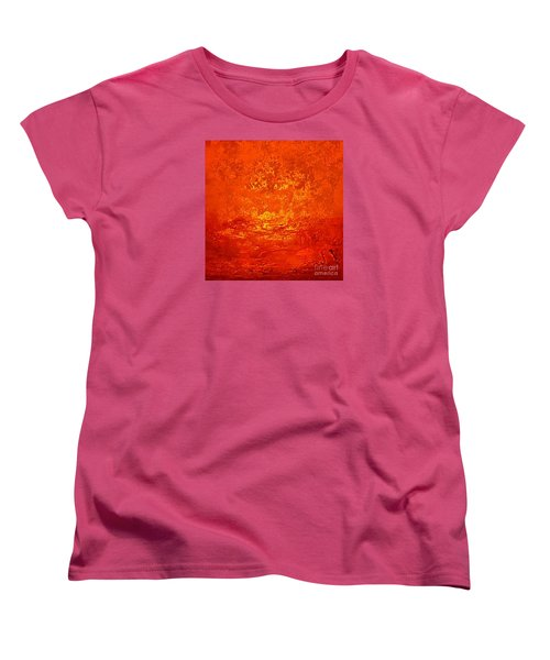 One Night In Old Shanghai By Rjfxx.-original Minimalist Abstract Art Painting Women's T-Shirt (Standard Cut) by RjFxx at beautifullart com