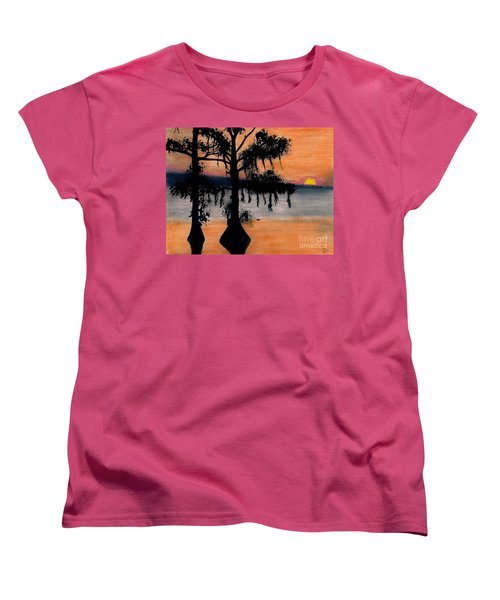 Women's T-Shirt (Standard Cut) featuring the drawing Orange Cypress Sunset by D Hackett
