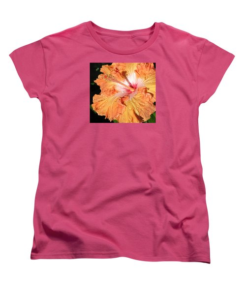Women's T-Shirt (Standard Cut) featuring the photograph Orange Hibiscus After The Rain by Connie Fox