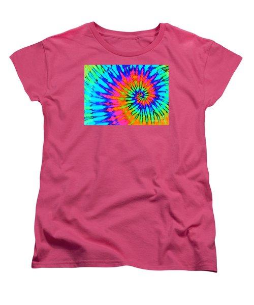 Orange Pink And Blue Tie Dye Spiral Women's T-Shirt (Standard Cut) by Catherine Sherman