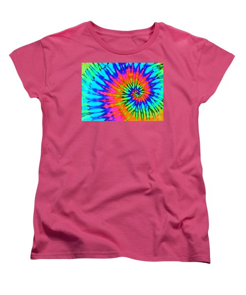 Orange Pink And Blue Tie Dye Spiral Women's T-Shirt (Standard Cut)