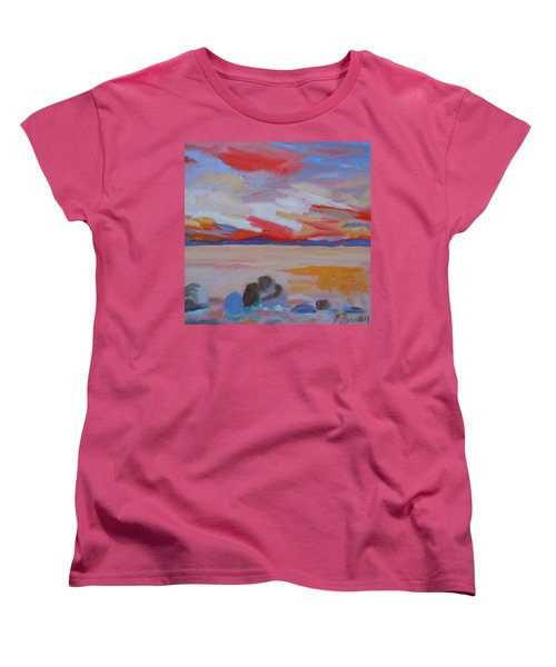 Women's T-Shirt (Standard Cut) featuring the painting Orange Sunset by Francine Frank