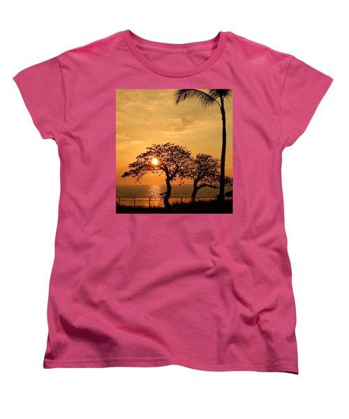 Orange Sunset Women's T-Shirt (Standard Cut) by Pamela Walton