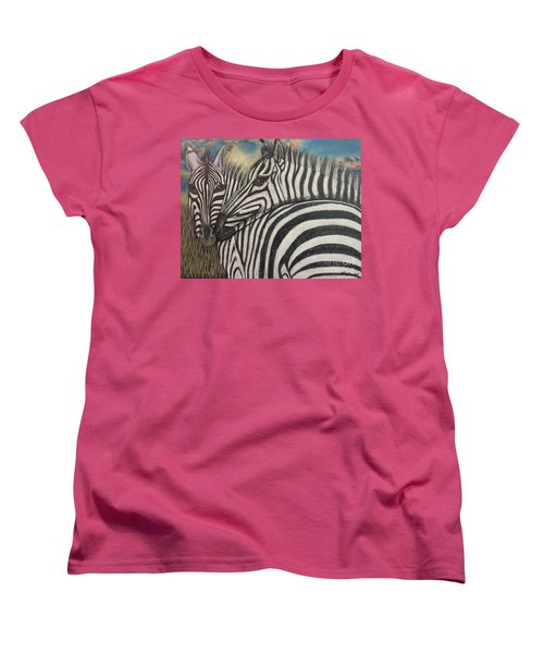 Women's T-Shirt (Standard Cut) featuring the painting Our Stripes May Be Different But Our Hearts Beat As One by Kimberlee Baxter