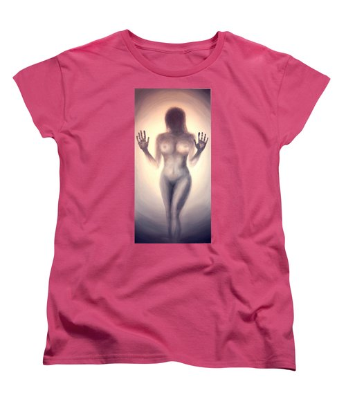 Women's T-Shirt (Standard Cut) featuring the photograph Outsider Series - Trapped Behind The Glass - In Sepia by Lilia D