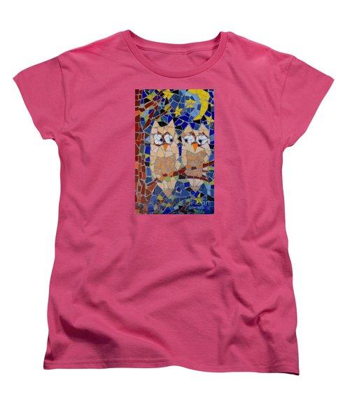 Owl Mosaic Women's T-Shirt (Standard Cut) by Lou Ann Bagnall