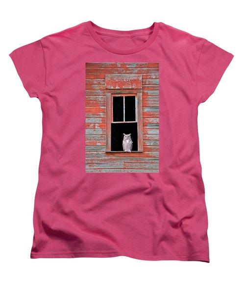 Owl Window Women's T-Shirt (Standard Cut) by Leland D Howard