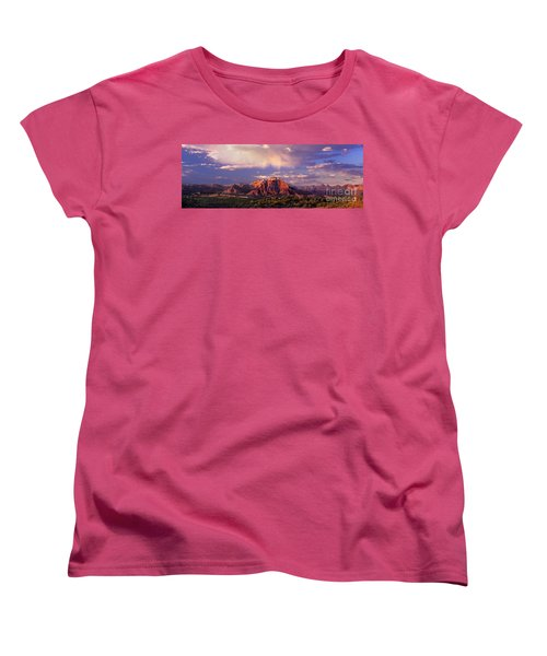 Panorama West Temple At Sunset Zion Natonal Park Women's T-Shirt (Standard Cut) by Dave Welling